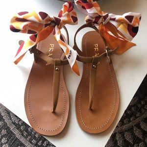Prada Saffiano Leather Thong Sandals w/Scarf Tie.
